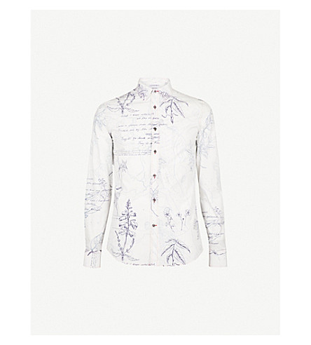 ALEXANDER MCQUEEN Explorer-print slim-fit cotton shirt (White+blue