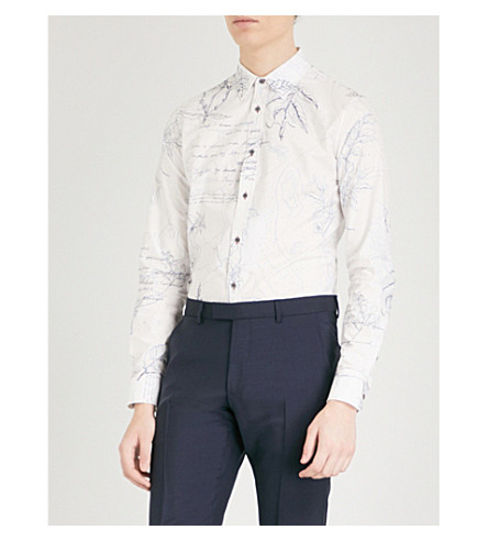 ALEXANDER MCQUEEN Explorer-print slim-fit cotton shirt (White+blue