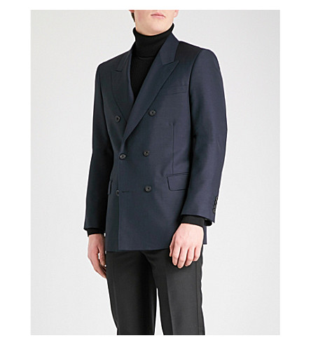 ALEXANDER MCQUEEN Modern-fit wool and mohair-blend jacket (Navy
