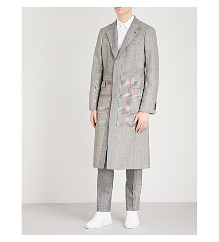ALEXANDER MCQUEEN Checked wool-blend coat (Black+white