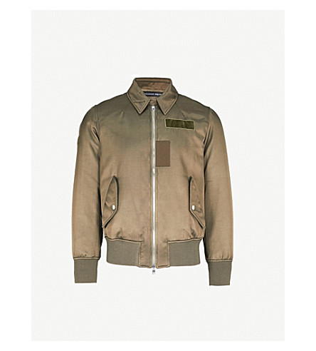 ALEXANDER MCQUEEN Poem embroidered shell bomber jacket (Khaki