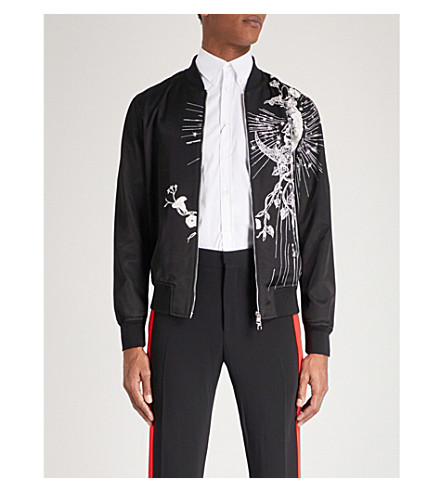 ALEXANDER MCQUEEN Embroidered satin bomber jacket (Black+ivory