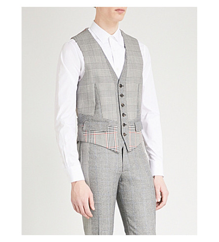 ALEXANDER MCQUEEN Multi-checked regular-fit wool-blend waistcoat (Black+white