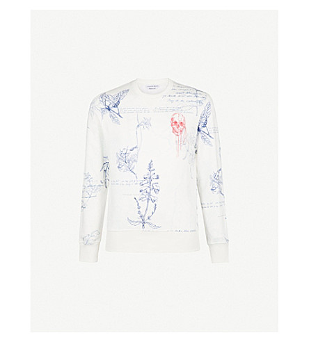 ALEXANDER MCQUEEN Floral-print skull-embroidery cotton-jersey sweatshirt (White+mix