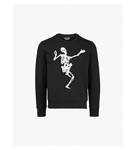 ALEXANDER MCQUEEN Dancing Skeleton cotton-jersey sweatshirt (Black+ivory