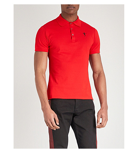 ALEXANDER MCQUEEN Dancing skeleton cotton-piqué polo shirt (Red+mix