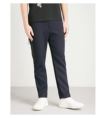ALEXANDER MCQUEEN Side-zip relaxed-fit crepe trousers (Navy