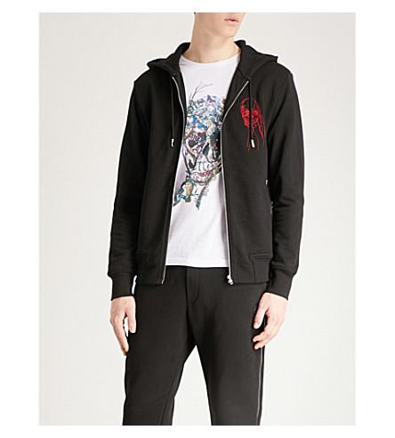 ALEXANDER MCQUEEN Skull logo cotton-jersey hoody (Black+mix