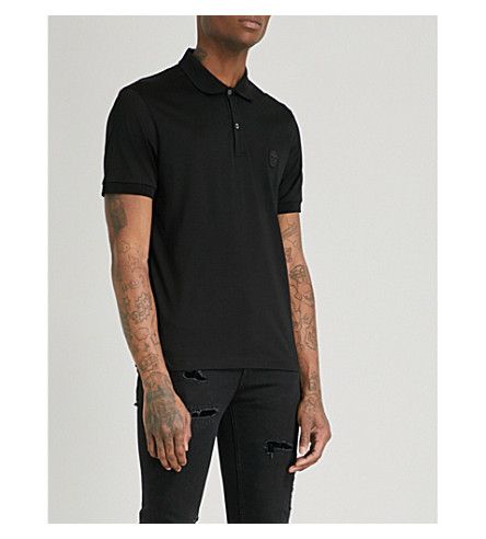 ALEXANDER MCQUEEN Skull-embroidered cotton-jersey polo shirt (Black