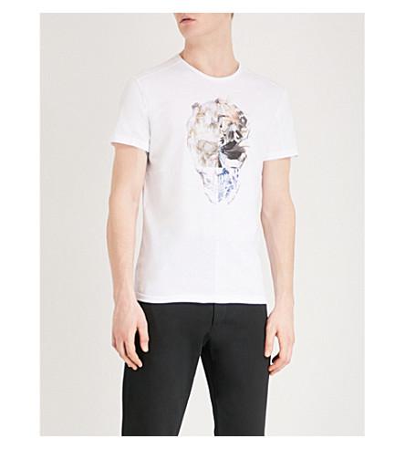 ALEXANDER MCQUEEN Patchwork skull-print cotton-jersey T-shirt (White+mix