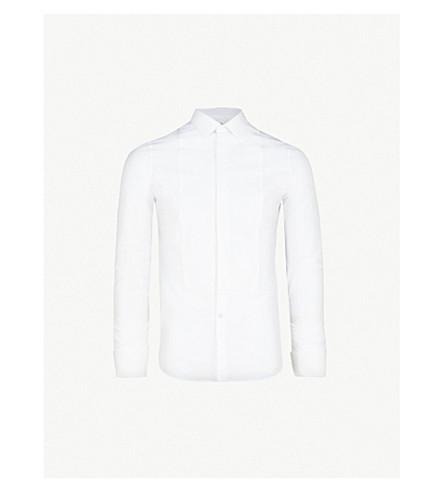 ALEXANDER MCQUEEN 质感面板修身版型棉衬衫 (白色