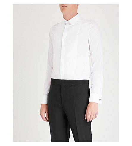 ALEXANDER MCQUEEN Textured-panel slim-fit cotton shirt (White