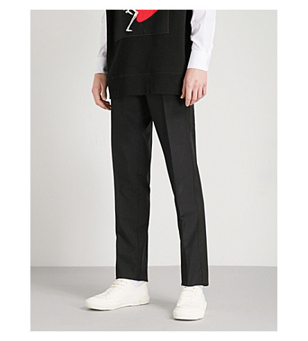 ALEXANDER MCQUEEN Straight wool and mohair-blend trousers (Black
