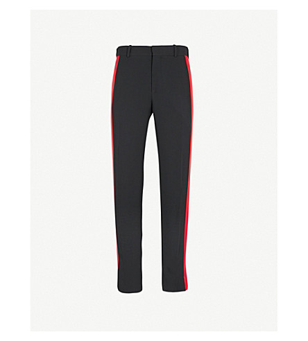 ALEXANDER MCQUEEN Side-stripe crepe trousers (Black+red