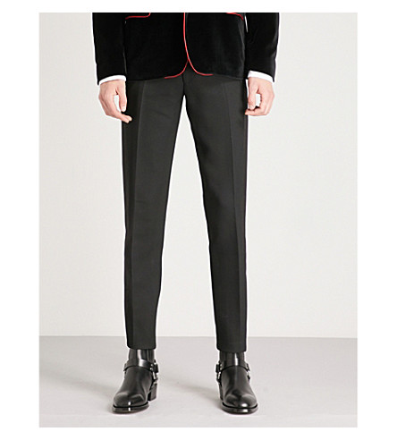 ALEXANDER MCQUEEN Regular-fit straight wool-blend trousers (Black