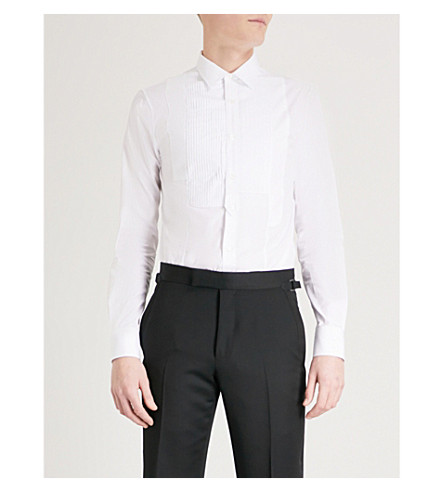 ALEXANDER MCQUEEN Asymmetric pleated stretch-cotton shirt (White+white