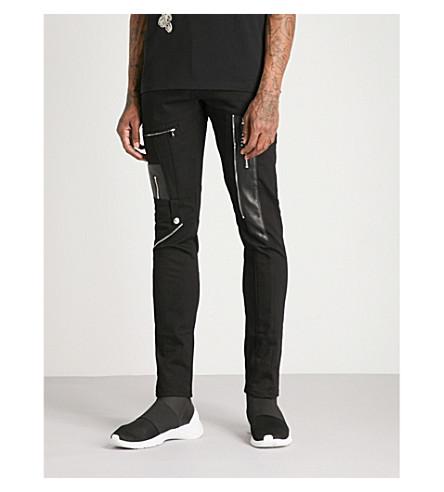 ALEXANDER MCQUEEN Zipped slim-fit skinny biker jeans (Black+black