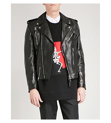 ALEXANDER MCQUEEN Detachable-sleeve leather biker jacket (Black