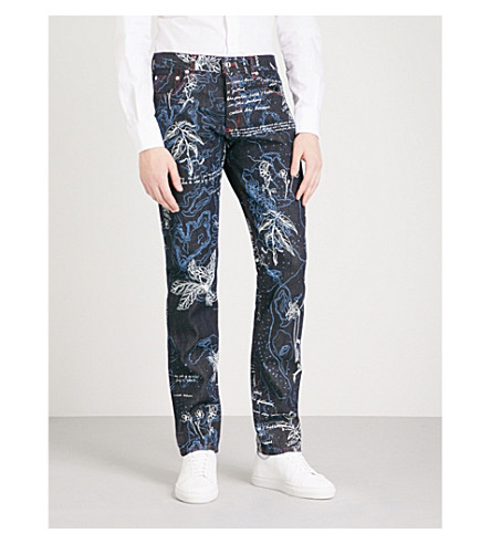 ALEXANDER MCQUEEN Floral-embroidered slim-fit straight jeans (Blue+ivory
