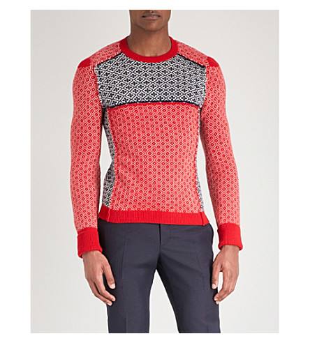 ALEXANDER MCQUEEN Patchwork wool and cashmere-blend jumper (Red+navy+ivory