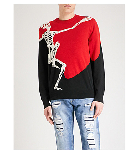 ALEXANDER MCQUEEN Skeleton-intarsia wool and cashmere-blend jumper (Red+black+ivory
