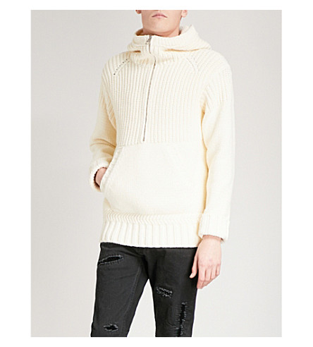 ALEXANDER MCQUEEN Chunky-knit cotton-blend hoody (Ivory