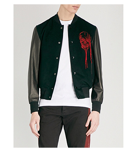 ALEXANDER MCQUEEN Skull-embroidered velvet and leather bomber jacket (Black+red