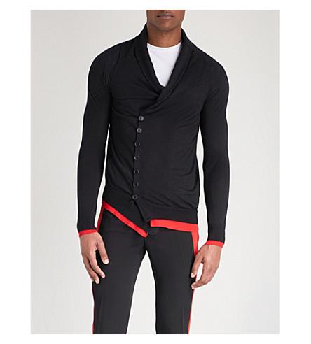 ALEXANDER MCQUEEN 十字体羊绒开衫 (黑色 + 红色