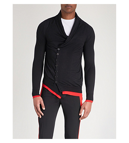 ALEXANDER MCQUEEN Cross body cashmere cardigan (Black+red