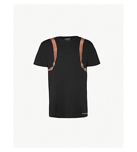 ALEXANDER MCQUEEN Backpack cotton-jersey T-shirt (Black+mix