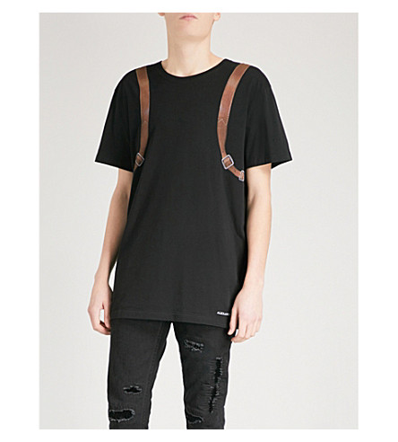 ALEXANDER MCQUEEN Backpack cotton-jersey T-shirt (Black+mix