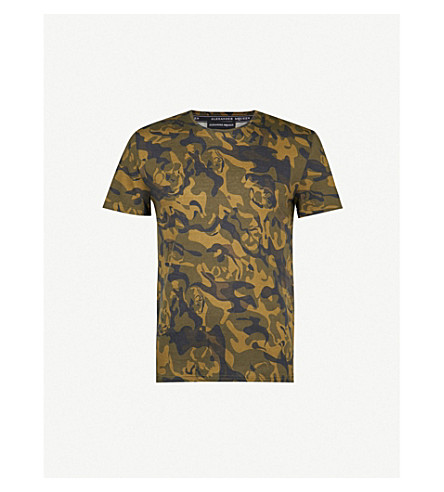 ALEXANDER MCQUEEN Camo-print cotton-jersey T-shirt (Olive+black