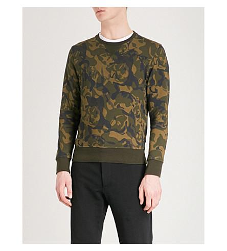 ALEXANDER MCQUEEN Camo-print cotton-jersey sweatshirt (Olive+black