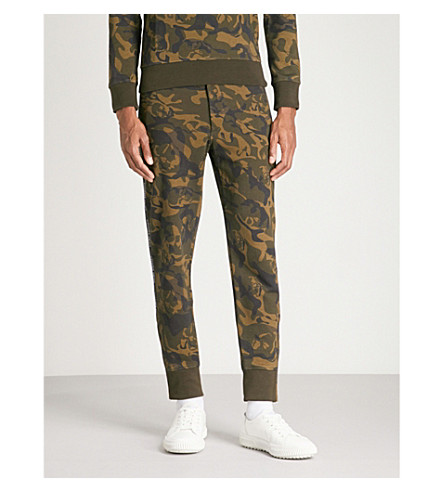 ALEXANDER MCQUEEN Camouflage-print cotton-jersey jogging bottoms (Olive+black
