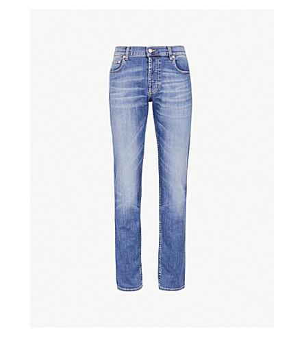 ALEXANDER MCQUEEN Faded slim-fit tapered stretch-denim jeans (Blue