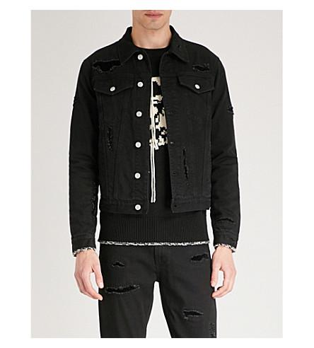 Black ALEXANDER Distressed ALEXANDER MCQUEEN MCQUEEN jacket denim 0dHYnxz
