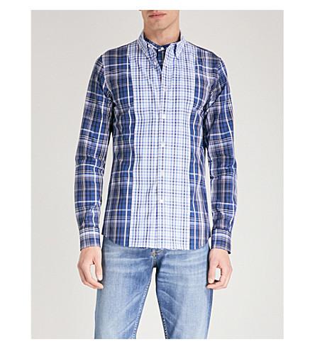 ALEXANDER MCQUEEN 方格修身版型棉府绸衬衫 (蓝色