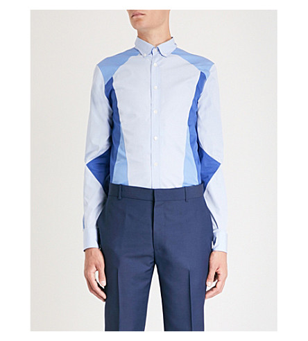 ALEXANDER MCQUEEN对比板薄合身棉布衬衫 (蓝色