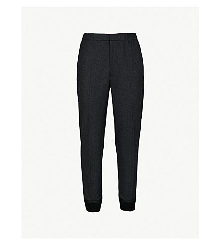 ALEXANDER MCQUEEN袖口宽松适合瘦羊毛长裤 (木炭