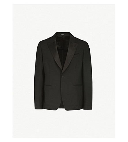 ALEXANDER MCQUEEN Peak-lapel regular-fit wool-blend jacket (Black