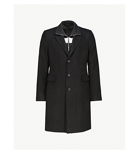 ALEXANDER MCQUEEN Faux-turtleneck wool-blend coat (Black