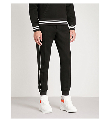 ALEXANDER MCQUEEN Side-stripe skinny jersey jogging bottoms (Black