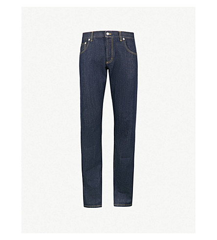 ALEXANDER MCQUEEN Piped slim-fit tapered jeans (Blue