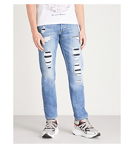 ALEXANDER MCQUEEN 仿旧修身版型锥形牛仔裤 (蓝色