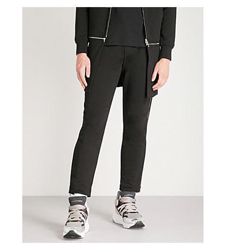 ALEXANDER MCQUEEN Zip-embellished cotton-jersey jogging bottoms (Black