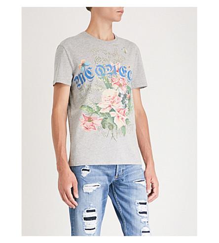 ALEXANDER MCQUEEN Goth-print cotton-jersey T-shirt (Grey
