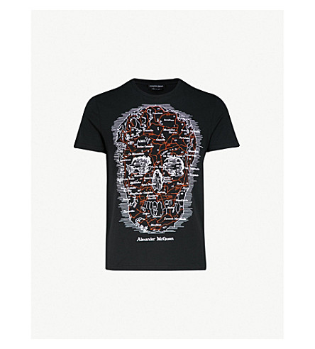 ALEXANDER MCQUEEN Skull-print cotton-jersey T-shirt (Black