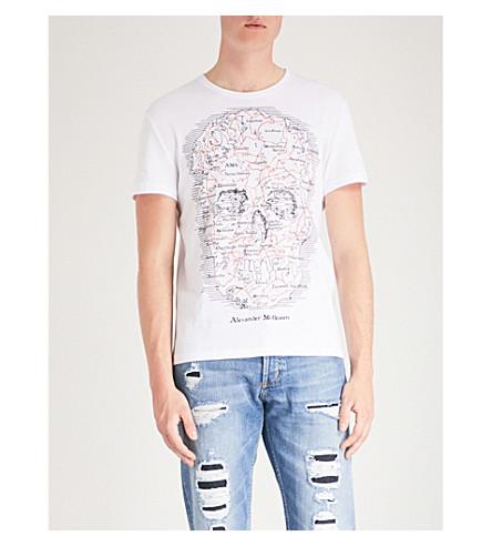 ALEXANDER jersey de MCQUEEN de de Blanco punto con Camiseta calaveras algodón estampado qrx7CwrI
