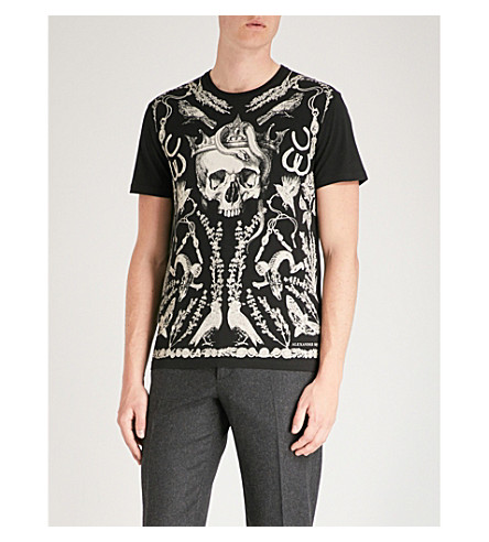 ALEXANDER MCQUEEN 颅骨打印平纹针织棉 T 恤 (黑色