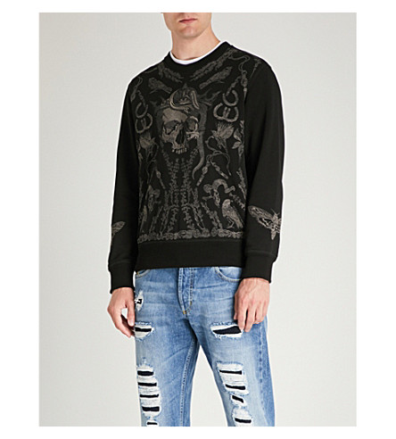 ALEXANDER MCQUEEN Skull-embroidered cotton-jersey sweatshirt (Black